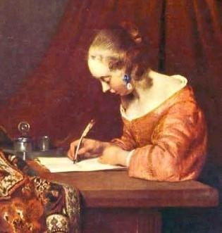 donna che scrive (particolare) gerard ter borch 1655 ca.